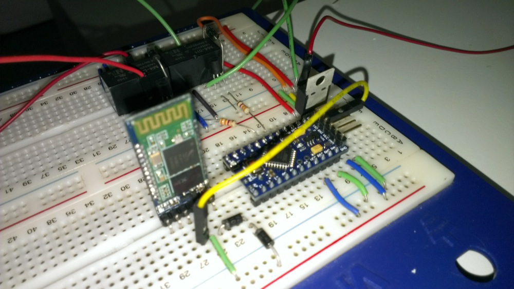 Breadboard prototype for Bluetooth relay outputs