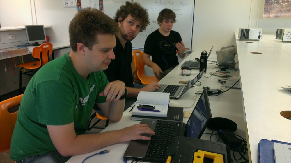 Karl, Drew and Luke working on the Arduino code for the bluetooth comms